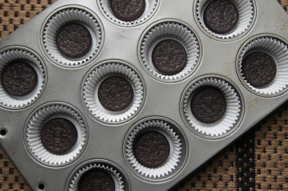 An oreo in each cupcake